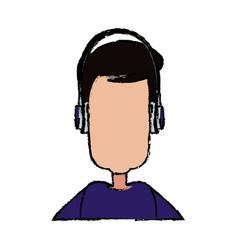 young man cartoon user headphones device vector image