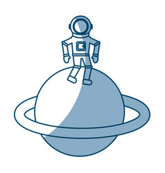 Astronaut in saturn comic character icon vector