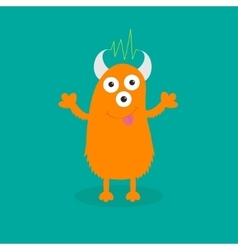 Orange monster with eyes horns tongue vector image vector image