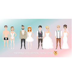 set of couples newlyweds in cartoon style vector image