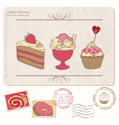 Set of cupcakes on old postcard vector image