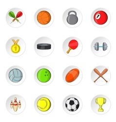 Sport equipment icons cartoon style vector image