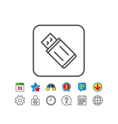 usb flash drive line icon memory stick sign vector image