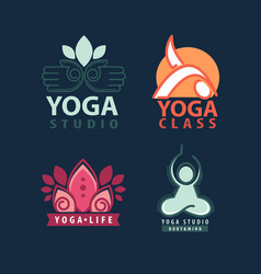 yoga studio body and mind logotype vector image