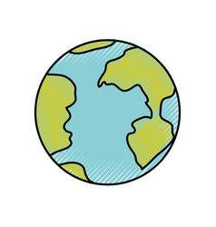 colored crayon silhouette of earth globe icon vector image
