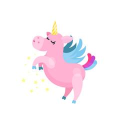 cute cartoon pink magic unicorn pegasus vector image