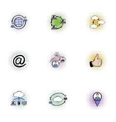 Data storage icons set pop-art style vector