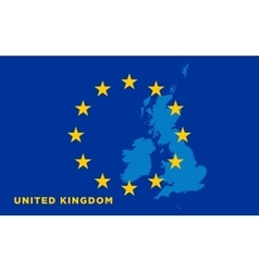 Flag of European Union with United Kingdom on vector image
