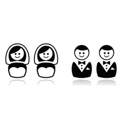 Gay and lesbian wedding icons set vector image