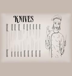 kitchen tools utensils equipment ware set knives vector image