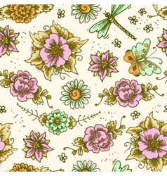 Vintage floral colored seamless pattern vector image vector image