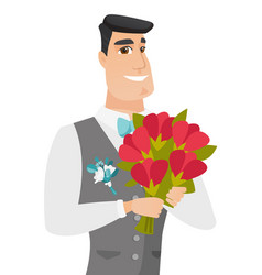 Young caucasian groom with bridal bouquet vector