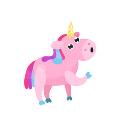 cute cartoon pink unicorn with multicolored mane vector image vector image
