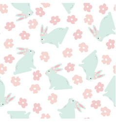 seamless pattern with bunny and flowers vector image