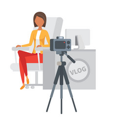 video blogger making stream vlogger vector image