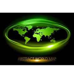 world abstract circle on black green vector image