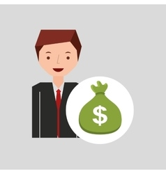 character businessman with sack money vector image vector image