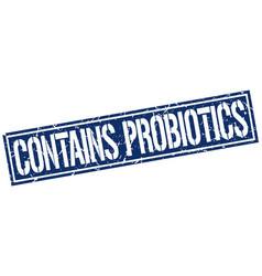 Contains probiotics square grunge stamp vector