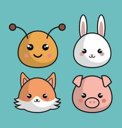 cute animals kawaii style vector image
