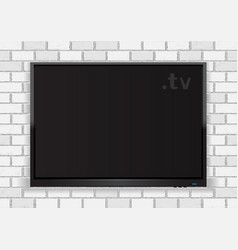 flat tv on white walll vector image vector image