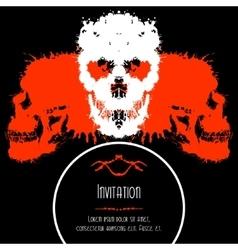 Scary Skulls Invitation or Postcard for Halloween vector image