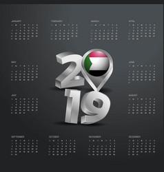 2019 calendar template grey typography with sudan vector