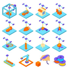 3d printing button icons set isometric style vector