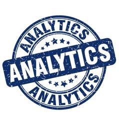 Analytics blue grunge stamp vector