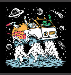astronaut and alien drive space car vector image