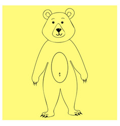 Bear character standing on his hind legs linear vector