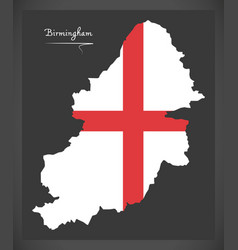 Birmingham city map with english national flag vector