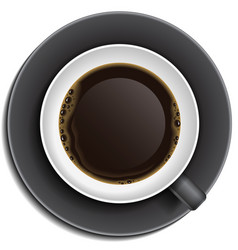 Black cup of coffee on saucer vector