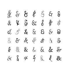 black modern thin line stylized ampersand set vector image