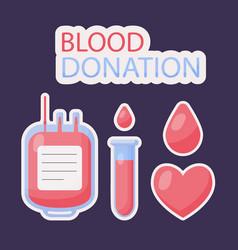blood donation flat icon set vector image