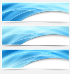Blue glow swoosh line header footer set vector