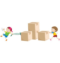 Boys pulling and pushing boxes vector image