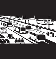 bus assembly line vector image