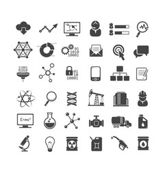 business analytics and industry icons set vector image