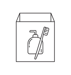 cardboard box with hygiene products icon linear vector image