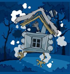 cartoon fairytale house on chicken legs in the vector image