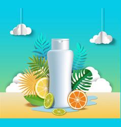 Citrus hair shampoo poster template vector