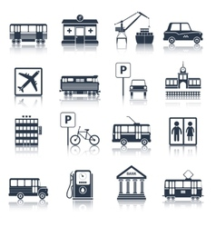 City infrastructure icons black vector