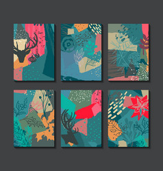 collection of six colorful christmas cards vector image