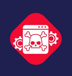 Computer virus malware attack icon with skull vector