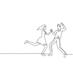 continuous one line drawing happy couple man vector image
