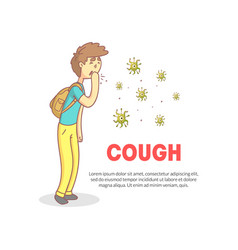 Cough banner with space for text teenage boy vector