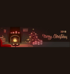 Decorated pine near fireplace with empty chairs vector