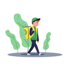 Delivery boy walking by street with yellow vector