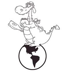 Dragon on earth cartoon vector