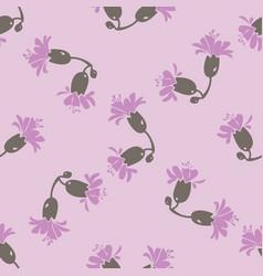 drawing bloom purple flowers roses cute meadow vector image